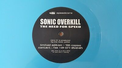 "12"" Sonic Overkill ""The need for speed"", Speedcore/Hardcore 1996, Limited 500"