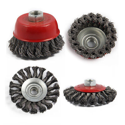 4Pcs M14 Crew Twist Knot Wire Wheel Cup Brush Set For Angle Grinder G9F6