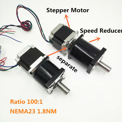 Ratio100:1 Planetary Reducer Extruder Geared 1.8NM Stepper Motor Nema 23 Kit