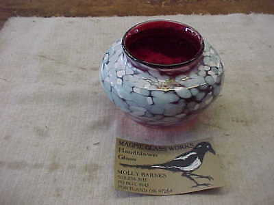 Molly Barnes Studio Art Magpie Glass Works  Modern Polychrome Vase Portland 1998
