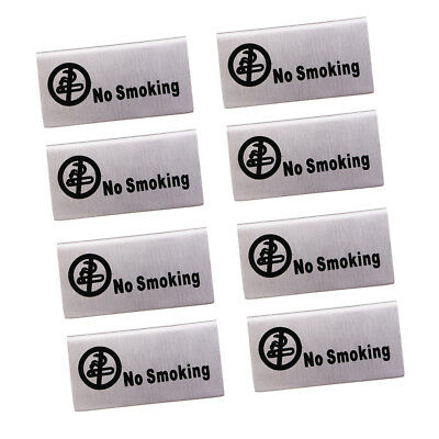 "8Pcs Style in acciaio inossidabile ""No-Smoking / Reserved"" Signs for"