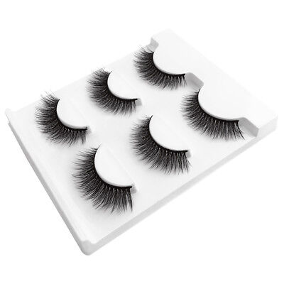 3Pairs Natural Black Thick Cross Long 3D Lashes Extension Ciglia finte