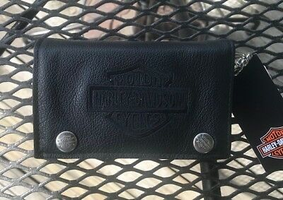 Harley Davidson Tri-Fold Leather Wallet & Chain TRICHAIN BLK B&S with tag