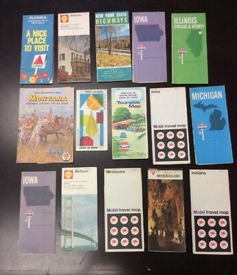 Lot Of 15 Vintage 1960's  State Road Maps