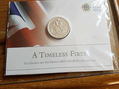 The Royal Mint A Timeless First George & The Dragon 2013 Uk £20 Fine Silver Coin