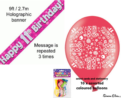 Girls Happy 11th Birthday Party Banner And Balloons 11 Today Banners Pink Hearts