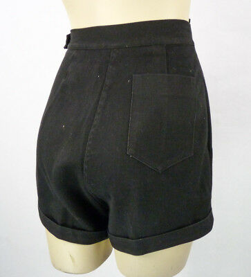 "Vintage 50s Black Rockabilly Pinup Shorts XS 24"" Waist Pockets Cuffed Bad Girl"
