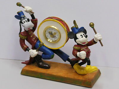 Disney Mickey Leading Goofy in Marching Band Parade With Clock NIB Figurine