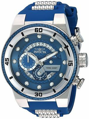 Invicta Men's 'S1 Rally' 51mm Chronograph Blue Rubber Stainless Steel Watch New