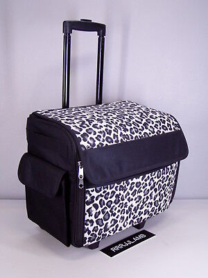Everything Mary Rolling Sewing Machine CASE Roller Tote Black White Cheetah