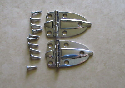 """Vintage pair of cabinet door flush hinges chrome plated finish 2 1/2"""" Amerock"""