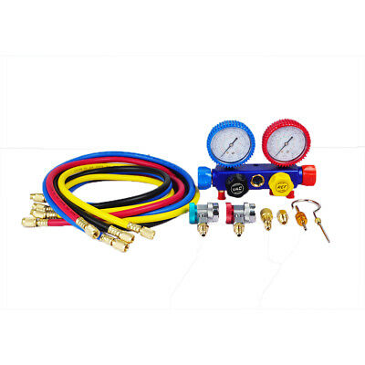 4 Way AC Refrigeration Charging kit Service Gauge Manifold Coupler Adapters