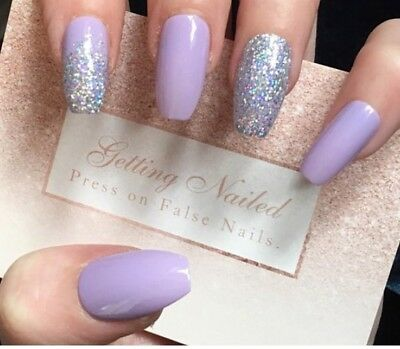 Set Of 20 Hand Lilac And Holographic Diamond False Nails