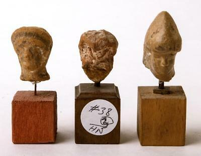 Collection of 3 Greek Hellenistic terracotta Heads Circa 3th Century BC.