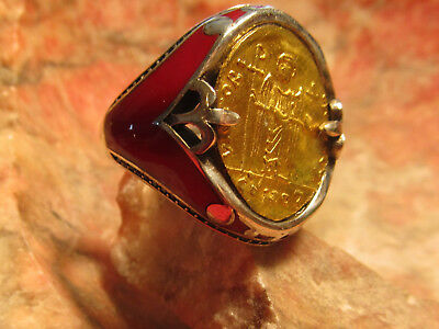 Authentic Ancient Byzantine Tiberius Gold Coin Mens Ring!