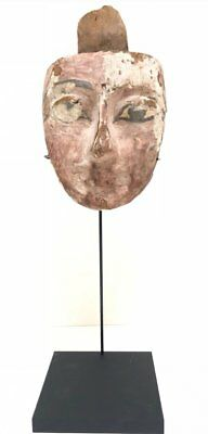 Ancient Egyptian Mummy Wood Mask Third Intermediate Period (1550-712 BC).