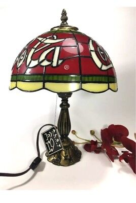 """Vintage Coca Cola Lamp 18"""" Stained Glass Style Table Lamp Man cave"""