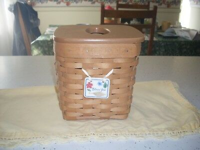 LONGABERGER 2002 Tall RB Tissue Basket w/Woodcrafts LID/ BlessYou Tie-On/EUC