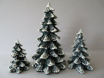 Dept 56 Village Evergreen Trees Cold Cast Porcelain Set Of 3 Retired