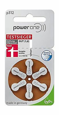 Power One Zinc Air Hearing Aid Batteries (Brown) Size 312 (60 Cells) .