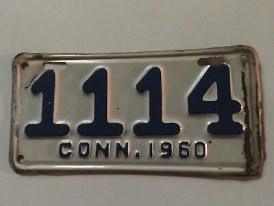 1960 Connecticut Motorcycle License Plate Glossy Original Paint YOM Harley BMW