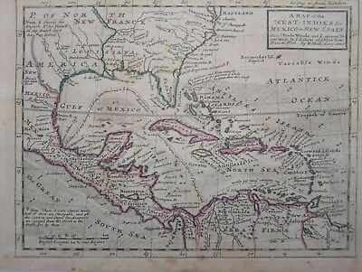 1732 Herman Moll A Map of the West-Indies & c. Mexico or New Spain America Mapa