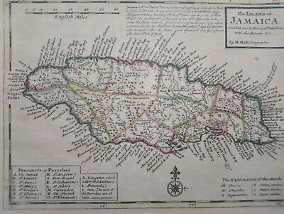 1732 Herman Moll Map The Island of Jamaica Divided into its Principal Parishes