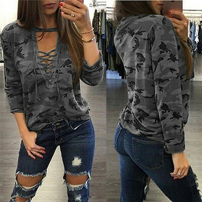 Women V-Neck Lace Up Camo T-Shirt Long Sleeve Casual Loose Blouse Sweatshirt Tee
