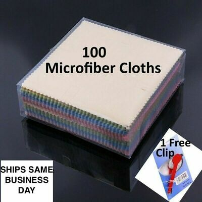 100 Cloth Wipes Eyeglass Cleaning Microfiber iPhone Sunglasses Camera LCD Screen