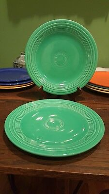 "2 Vintage HLO Fiesta 10.25"" Dinner Plates, Fiesta Green, Stamped, Great cond"