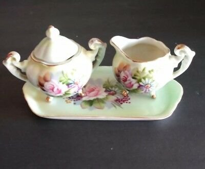 Antique Porcelain Hand Painted Creamer & Sugar with Tray