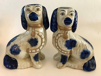 Pair of Vintage Spaniel Dogs Figurines Porcelain