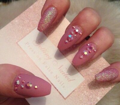 Set Of 20 Hand Painted Dusky With Glitter, Jewelled False Nails