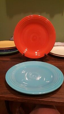 "2 Vintage HLO Fiesta 10.25"" Dinner Plates, Fiesta Red and Turquoise, Stamped"