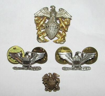 LOT - STERLING & 1/20th 10K GF US NAVY GARRISON,SWEETHEART & CAPTAINS PINS