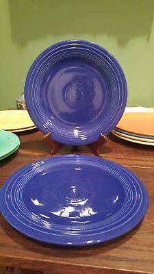 "2 Vintage HLO Fiesta 10.25"" Dinner Plates, Cobalt Blue, Stamped, Great cond"