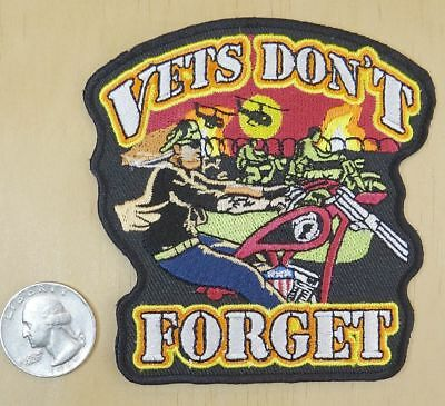 VETS DONT FORGET MOTORCYCLE PATCH P2760 biker patches iron on sewon novelty new