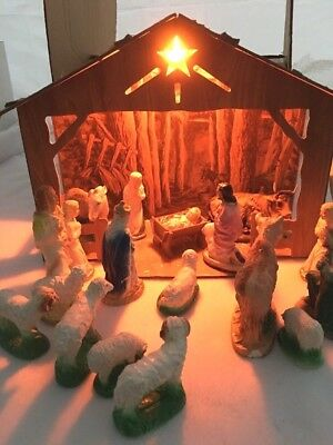 Vintage Hand Painted 19 Piece Composition Lighted Nativity Crèche Very Old