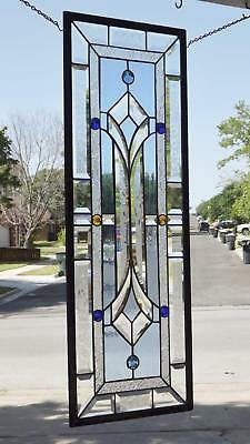 • Sapphire Smile •Blue/Clear  Beveled Stained Glass Window Panel • 3 'long