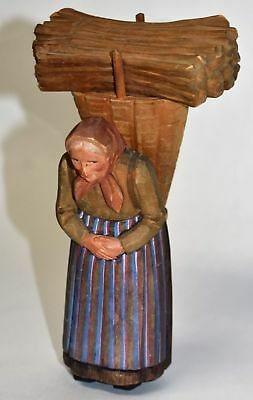 "Huggler Wyss Brienz Switzerland Old Woman Carrying Kindling 7"" Old Swiss Carving"
