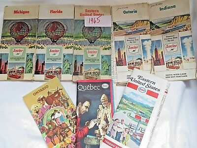 Vintage Road Maps Sinclair & Esso Lot of 8 from 1960's & early 70's USA & Canada
