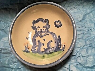 "M.a. Hadley Pottery .. Country Scene Blue .. 10 Ounce ""puppy Dog"" Cereal Bowl"