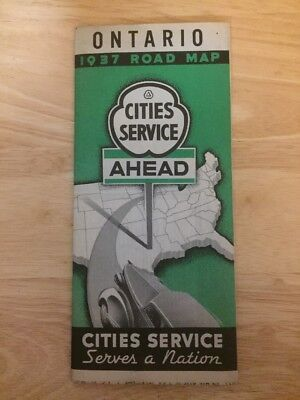 Vintage 1937 Cities Service Ontario, Canada Road Map