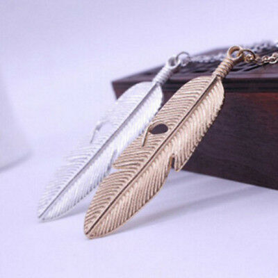 Sweater Long Chain Jewelry Hot Statement Necklace Women Vintage Feather Pendant