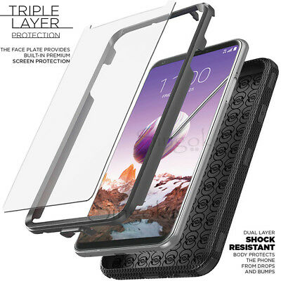 Shockproof RUGGED ARMOR LG Stylo 4/3/2 Plus Phone Case BUILT-IN SCREEN PROTECTOR
