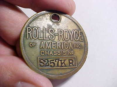 1920s ANTIQUE ROLLS ROYCE OF AMERICA INC. LARGE KEY FOB WITH STAMPED NUMBERS VG+