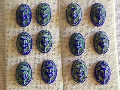 12 Vintage Egyptian PHARAOH Blue, Green Cameo GLASS CABOCHONS LOT, Beads Czech