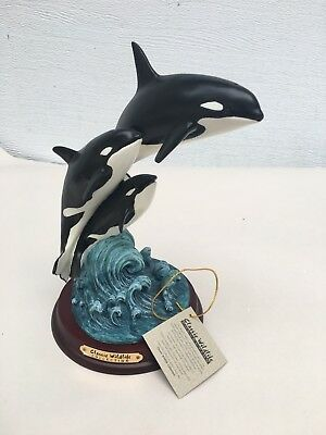 Vintage Wildlife Collection Orca Whales Statue Figurine