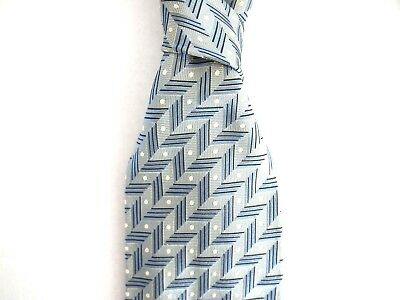 Hugo Boss Mens Necktie Blue Abstract Geometric Print 100% Silk Tie Italy Made