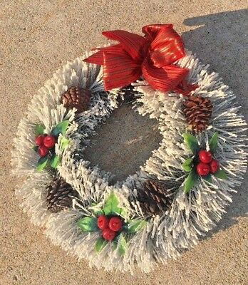 Vintage Christmas Bottle Brush Wreath Flocked Glitter With Fruit Pinecones 18 In